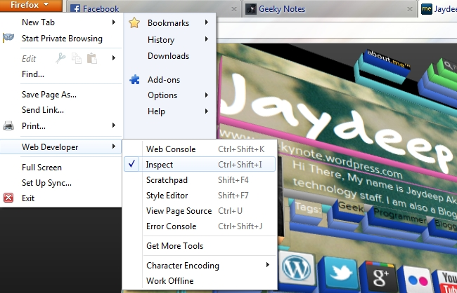 Firefox New Web Developer Tools to View Site Structure in 3D